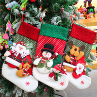 18'' Christmas Lint Embroidered Christmas Stocking Gifts Candy Hanging Bag Santa Claus Snowman Hotel Home Decoration