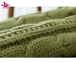Promotion classical 2 ply soft fluffy yarn cable knit chenille throw thick sherpa baby blanket