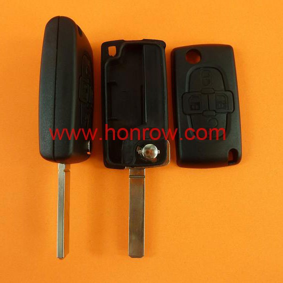 Citroen 4 button remote key blank with 307/VA2 blade,No battery place,Citoren C3,C4,C5 remote key cover