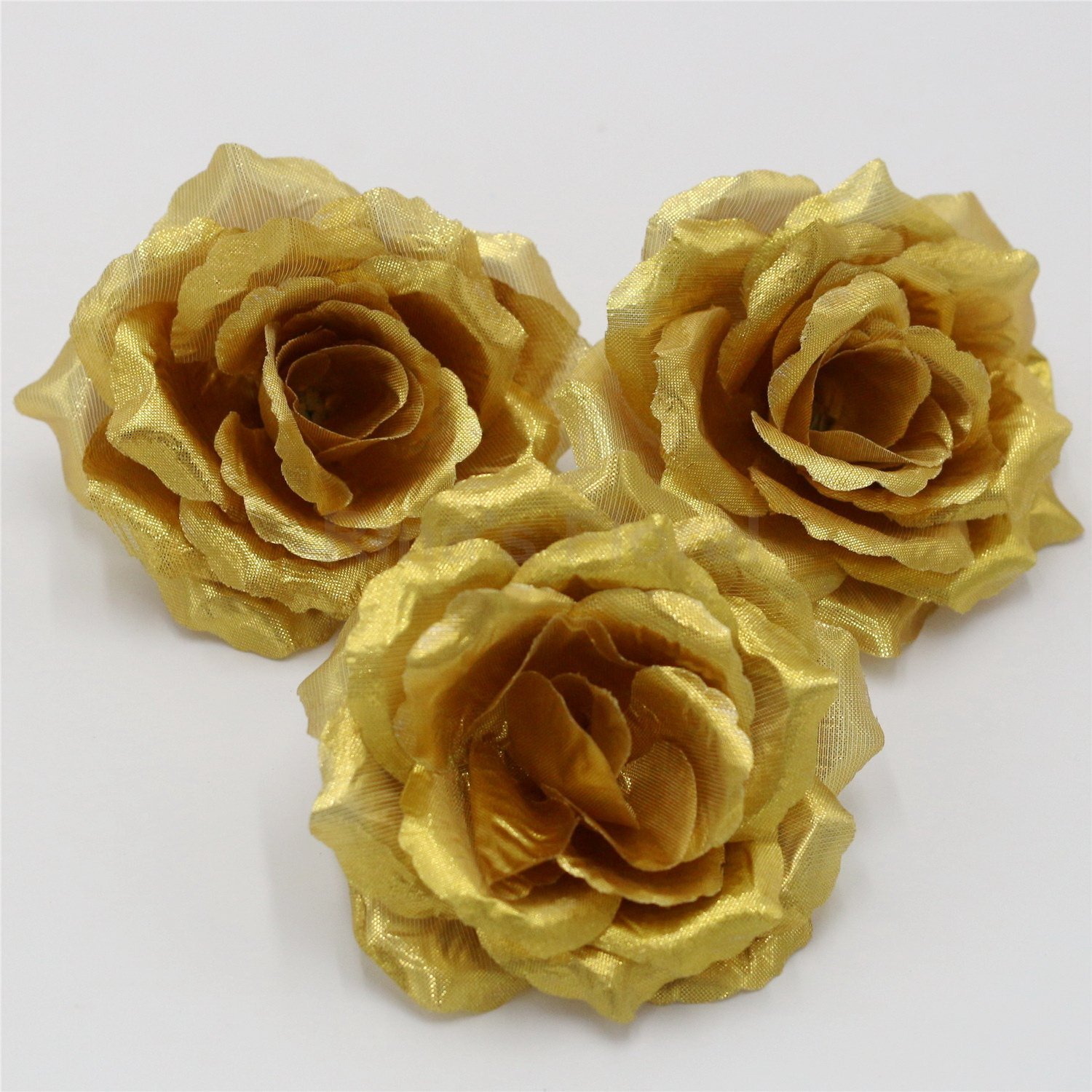 Silk Flowers Wholesale 100 Artificial Silk Rose Heads Bulk Flowers 10cm For Flower Wall Kissing Balls Wedding Supplies (Gold)