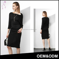 Fashion Style irregular Design Lesel fiber Sexy 3/4 Sleeve Slim Fit One Piece Black Dress for Women