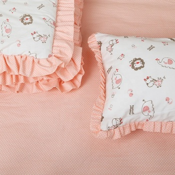 Orange Baby Girl 4 Pieces Baby Crib Sheet Bedding Set