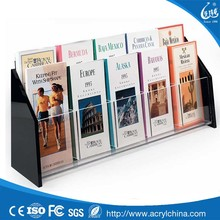 Clear Acrylic Brochure Holder with 10 Pockets for 4 x 9 Inches Pamphlets, Countertop Literature Rack with Black Acrylic Sides