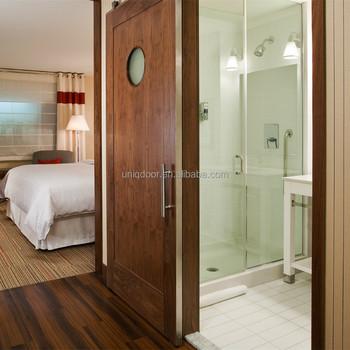 Hotel Bathroom Oak Sliding Glass Barn Door With Metal Strips Buy