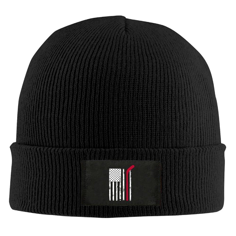 49b7b00b78c67c Get Quotations · HMCOOL Red Hockey Stick American Flag - Adult Knit Hat  Beanies Cap Winter Warm Hat