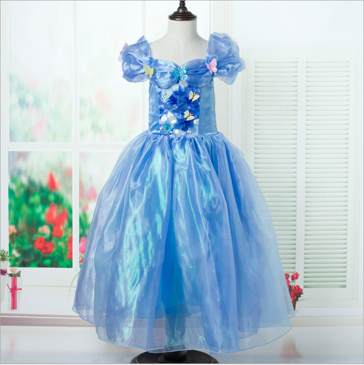 Cinderella 2015 Costumes Girls Dresses Shoes Jewelry: 2015 Girls Summer Style Dresses Cinderella Butterfly