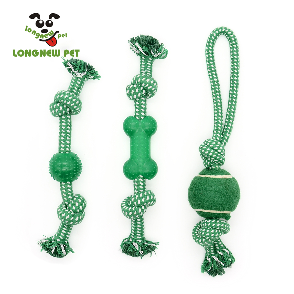 Set of Three Interactive Cotton Rope with Rubber Dog Toys For Chewing and Playing