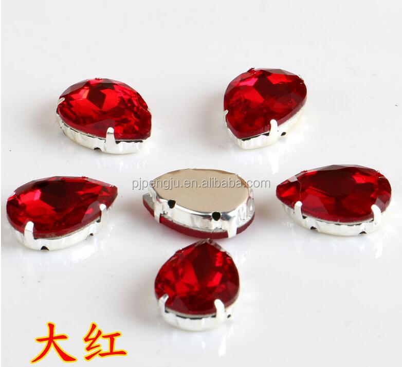 Flat back crystal teardrop shape color stone with claw for decorative clothing