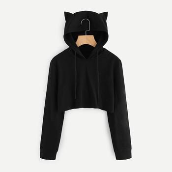 21bfd9033279 2018 Fashion cute womens sweatshirts hoodie crop top hoodie solid cat ear  long sleeve hoodie for