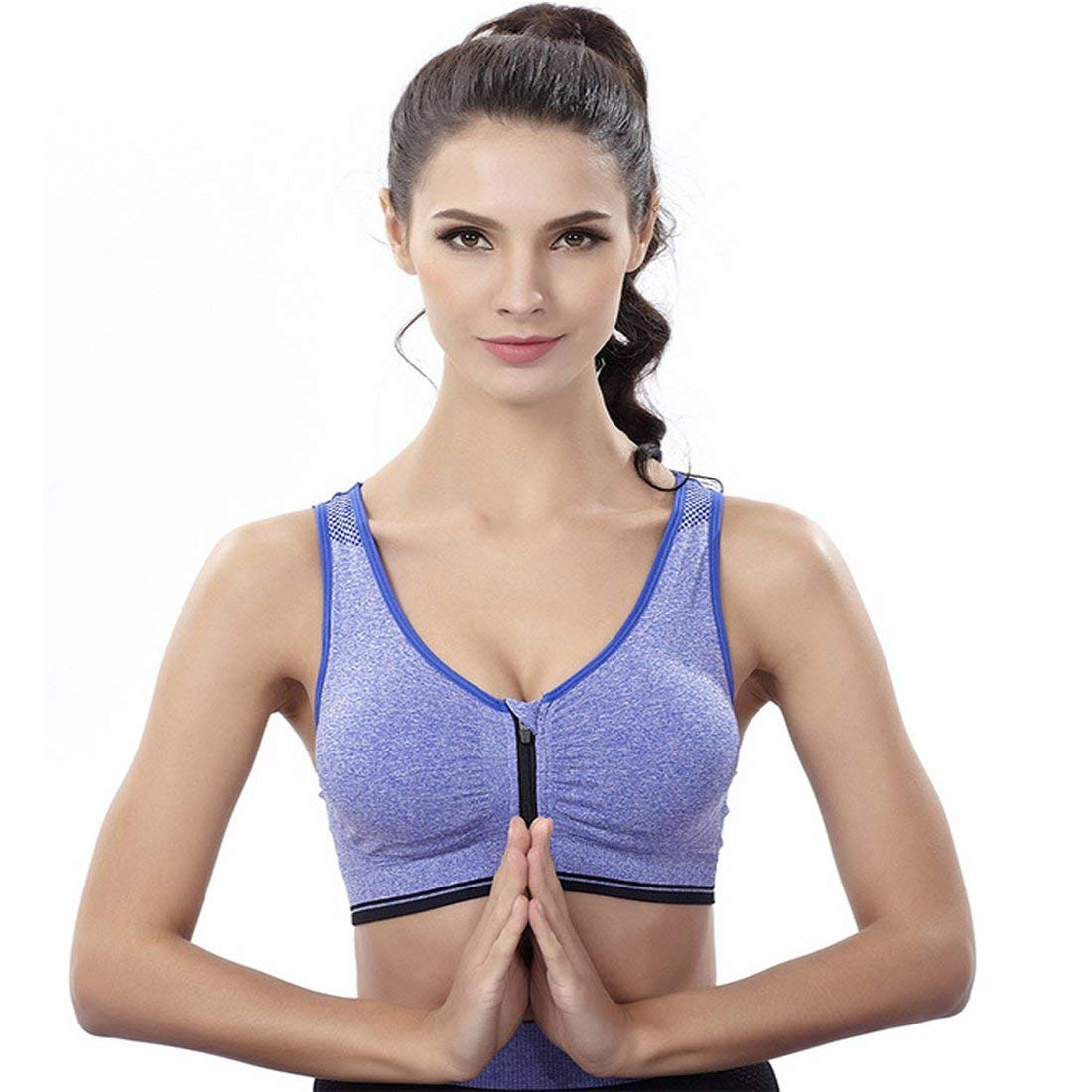 0e4916667c Get Quotations · Women s Racerback Sports Bra With Zip Front High Impact  Workout Gym Active Yoga Sports Bras
