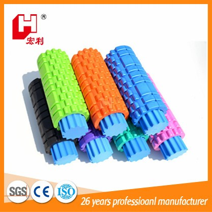 New factory promotion yoga eva grid coloured sponge hollow foam roller