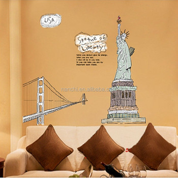 New Statue Of Liberty Wall Stickers New York Giant Art Decals ...