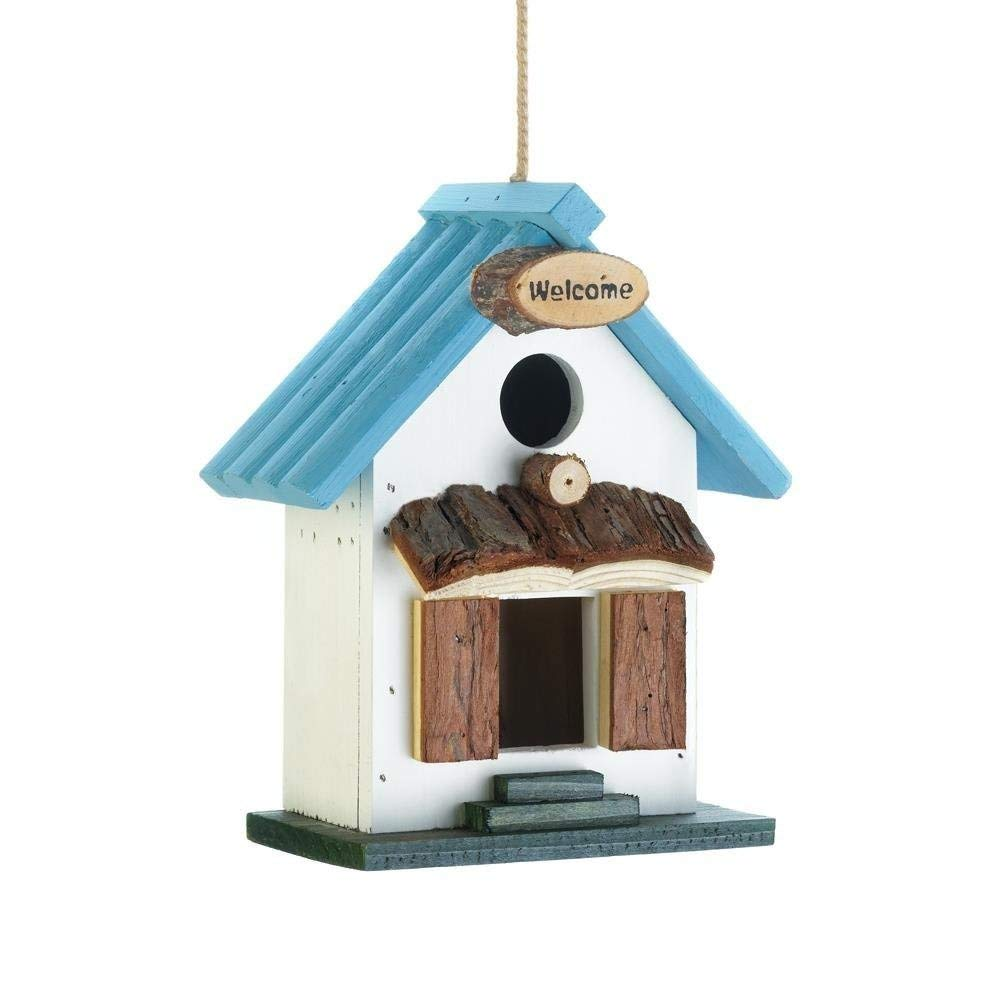 MyEasyShopping Blue Rooftop Birdhouse, Bird House Decor Blue Rooftop Wooden Hanging Outdoor Decorative Rustic Birdhouse, Birdhouse Blue Rooftop Rustic Bird Hanging Decorative Outdoor Wooden House