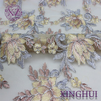 wholesale fashion custom lace fabric with cord embroidery