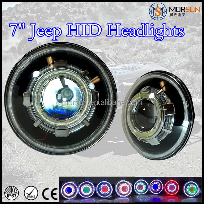 "New Jeep Headlights 7"" round HID headlight devil eye projector headlight jeep wrangler hid devil eyes"