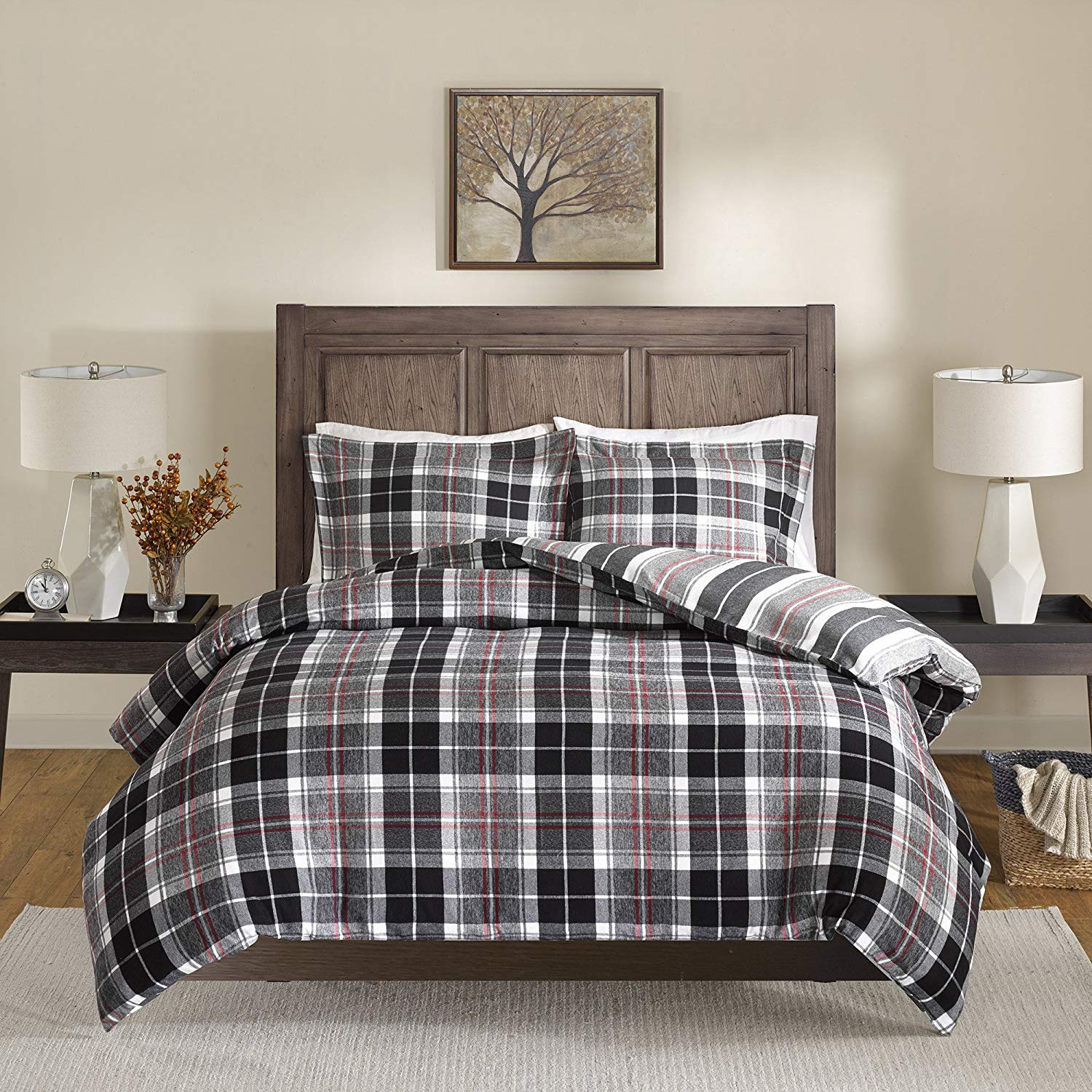 3 Piece Black Red Plaid Patterned Duvet Cover Queen Set, White Grey Checkered Gingham Lumberjack Glen Check Tartan Striped, Casual Reversible Crossing Lines Adult Bedding Master Bedroom Cotton Flannel