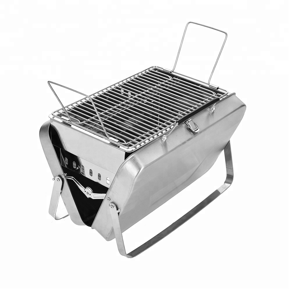 BBQ Party Outdoor Camping Tuin Rvs Koffer Afneembare Opvouwbare Draagbare Deluxe Houtskool BBQ Grill