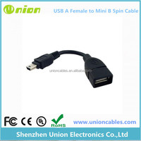 New A Female to 5-pin B Male Mini USB Cable OTG Host Extension Cord USB 2.0