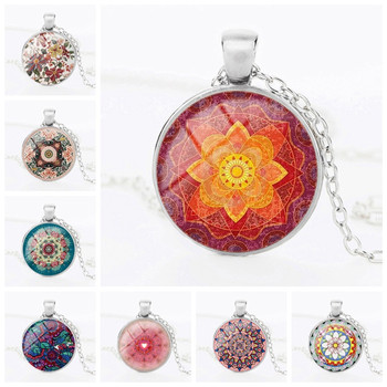 5130237034cd Mandala Lotus Flower Necklace Pendant Om Symbol Buddhism Zen Glass Jewelry  Vintage Silver Color Chain Choker