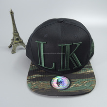 Black cotton and camo 6 panel baseball snapback cap and hat
