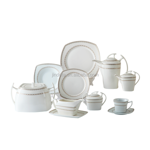 Wholesale Royal Special shape fine bone china 125pcs silver dinner set from chaozhou factory