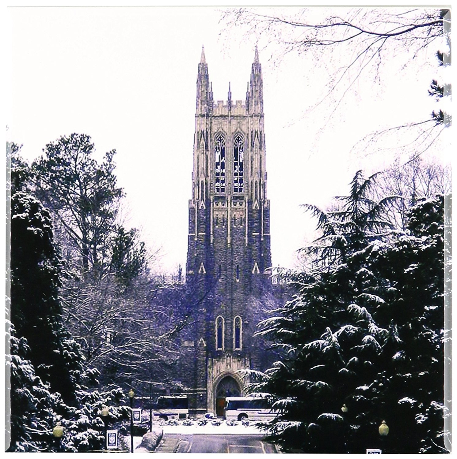 3dRose ct_55281_3 Duke University Chapel, Durham Ceramic Tile, 8-Inch