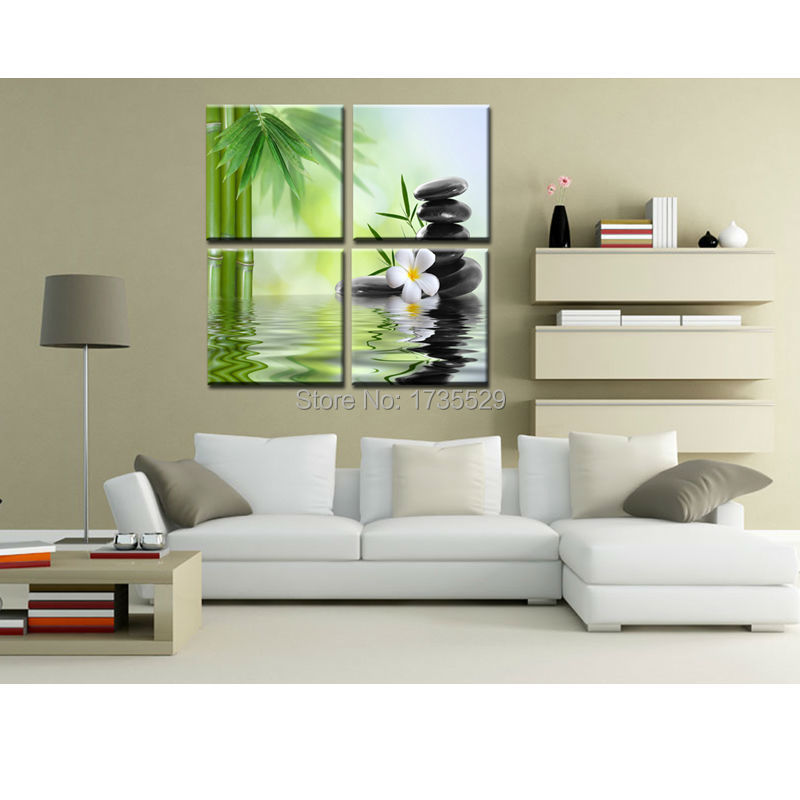 4 pieces of wall art bamboo stone landscape print on the canvas oil painting Modern Home Decorative For Living Room Or Hotel