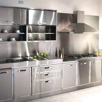 Customized Commercial Semi Custom Prefab Metal Kitchen Cabinet