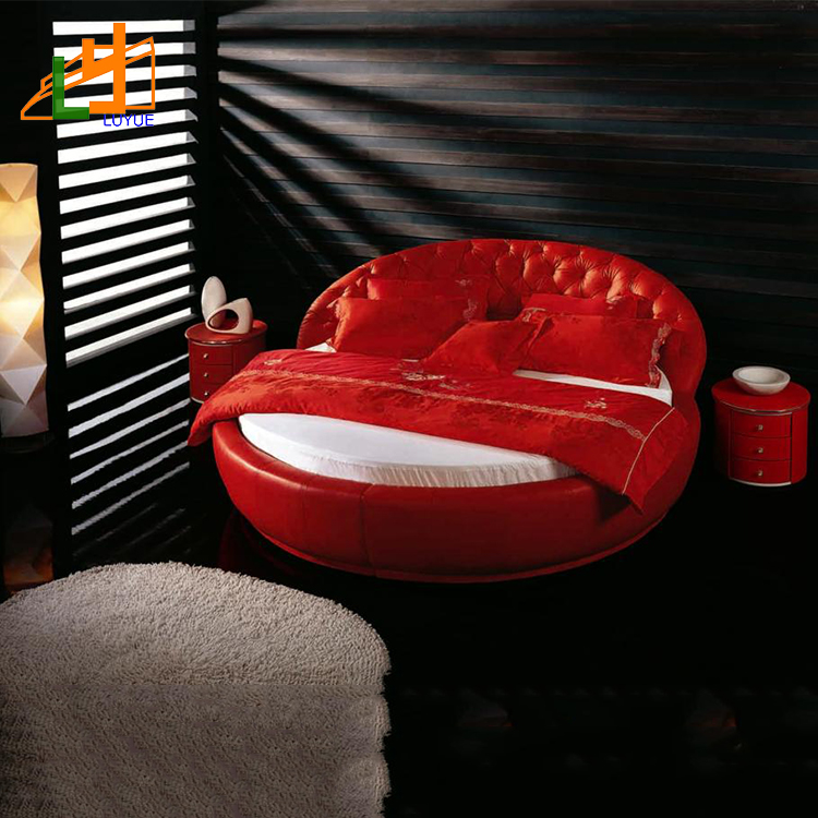 2018 modern bedrooms soft luxury red round genuine leather sofa home bed