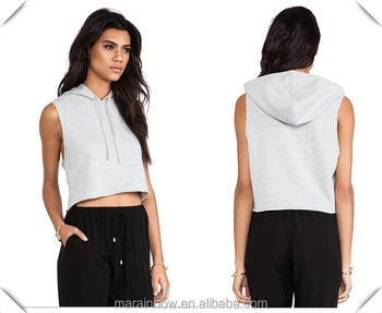 0b5935c213cfd5 Wholesale Womens 100% Cotton Plain Grey Crop Top Sleeveless Pullover Hoodie  Deep Cut Sleeveless Sweatshirts
