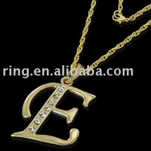 INITIAL E LETTER CHARACTER GOLD PENDANT CHARM NECKLACE