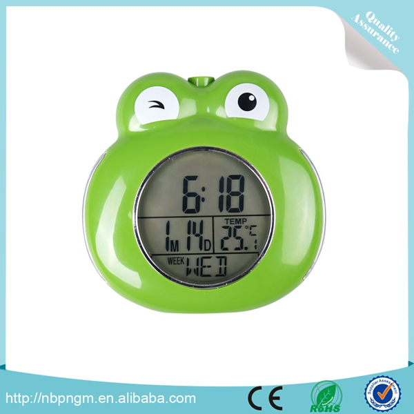 Promotional Cartoon Frog Shape Desk Alarm Clock with Timer and Calendar