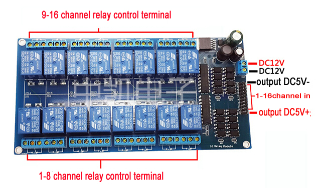 16 Channel Relay Module Coupling Optocoupler High Trigger