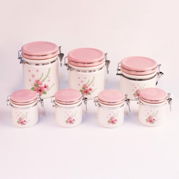 Kitchen Custom Air Ceramic Coffee Storage Container With Spoon