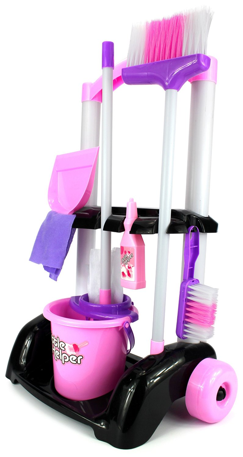 Velocity Toys Little Helper Cleaning Trolley Cart '32' Children's Kid's Pretend Play Toy Cleaning Play Set w/ Cart, Broom, Mop, Bucket, Dust Pan, Brush, Cleaning Rag, Mock Soap Bottle