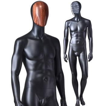 Fashion antique black life size change face mask attractive standing full male dummy man model mannequin for sale