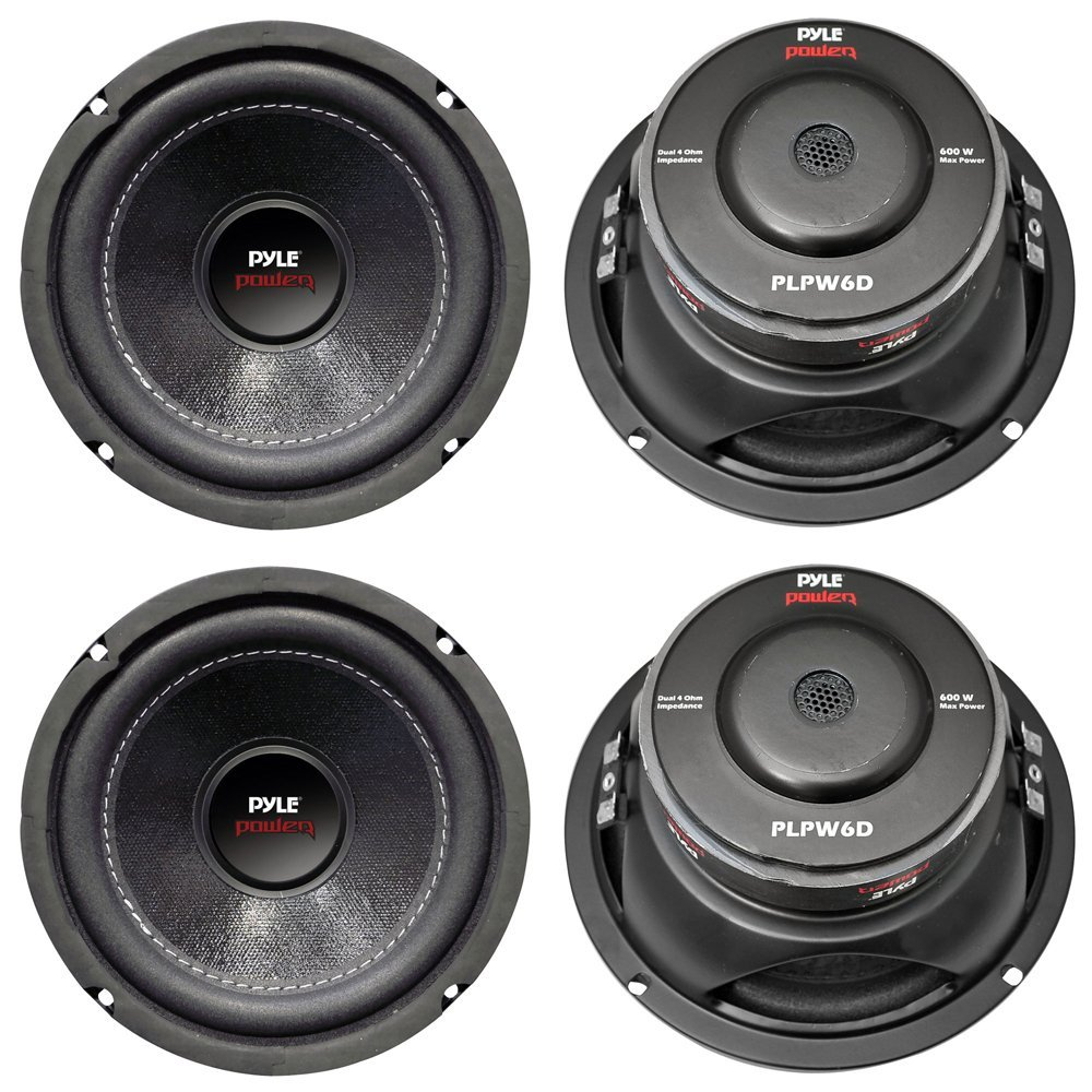 "Get Quotations · 4) New PYLE PLPW6D 6"" 2400W Car Audio Subwoofers Subs  Woofers DVC Stereo 4"