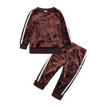 Комплект бархатной одежды для девочек, весна-осень, топы с длинными рукавами и штаны, комплект из 2 предметов(Китай)