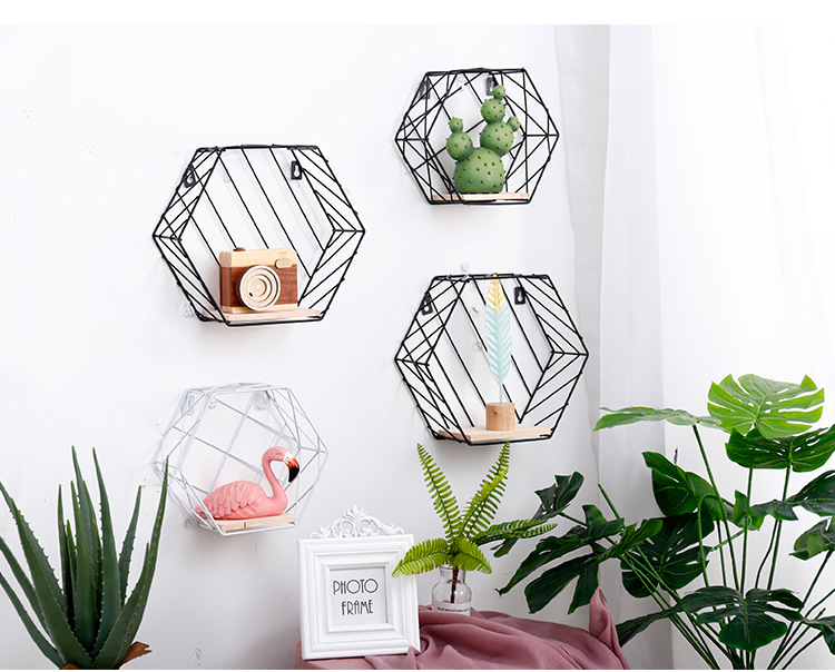 Hot selling Nordic Wall Mounted Shelf Art Wood Metal Wall Rack with Vintage Wood Storage Holder