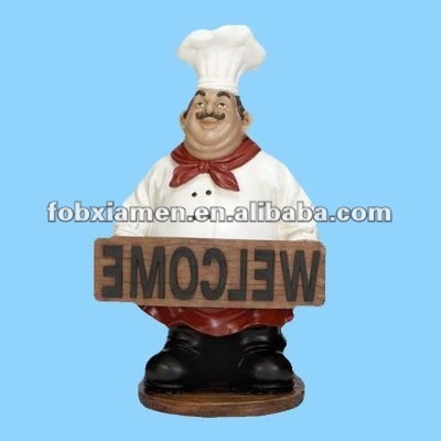Resin Chefs Kitchen Decor Statue With Welcome Sign