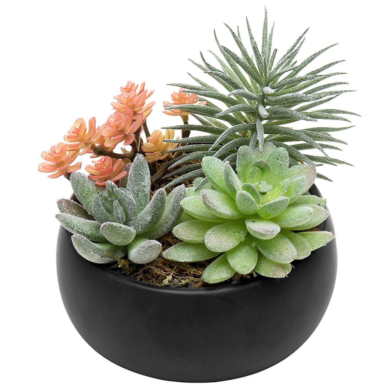 MyGift Faux Succulent Plant Arrangement in Black Ceramic Planter Bowl