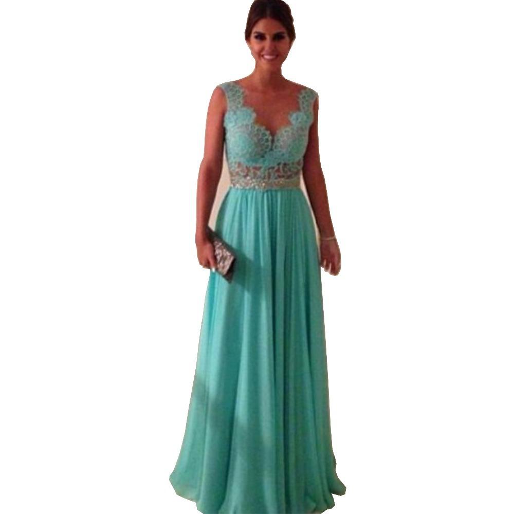 Discount Evening Gowns: V Neck Sleeveless Floor Length Long Prom Dresses 2015