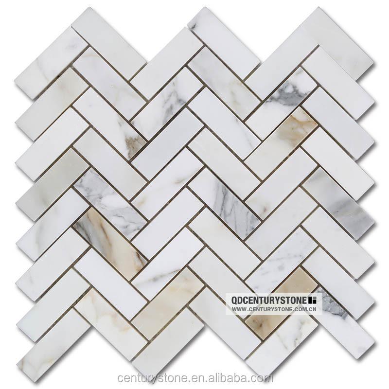Motif A Chevrons Calacatta Marbre Mosaique Carrelage Mural Buy