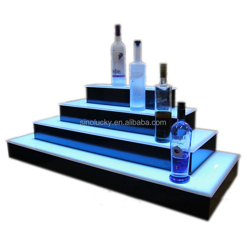 2 Step Led Lighted Bar Shelves With 3 Tier Acrylic Shelf Liquor Display