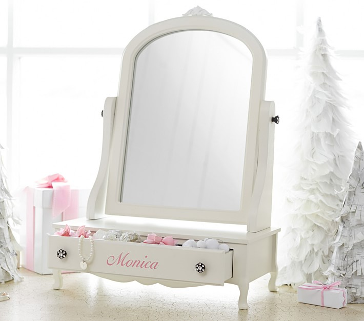 White Color Children Dressing Table With Drawers And Mirror