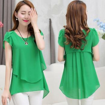 Fashion Korean Style Women S Casual Loose Short Sleeve Chiffon