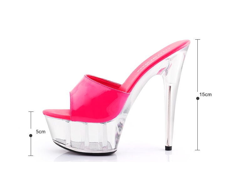 Sandals Sweet Ultra High Heels 15CM Transparent Crystal Shoes Wedding Shoes  Pink Waterproof Cooler Slides Female Summer dbf52c6940c1