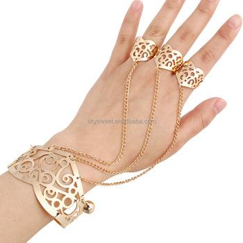 Gold Bracelet Finger Chain Rings Women Bell Charm Las Ring Pr581