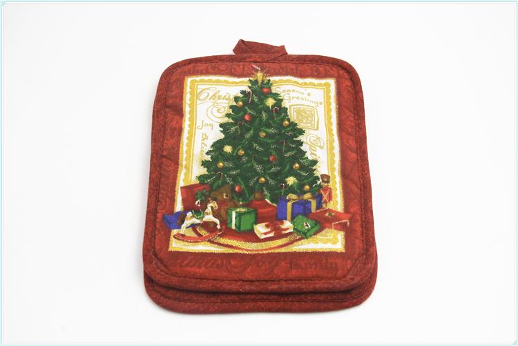 การออกแบบที่กำหนดเองขายส่งคริสต์มาส DECO รูปแบบ 100% ฝ้ายผู้ถือหม้อจานจาน