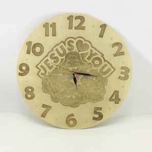 China laser cut wood watch wall clock